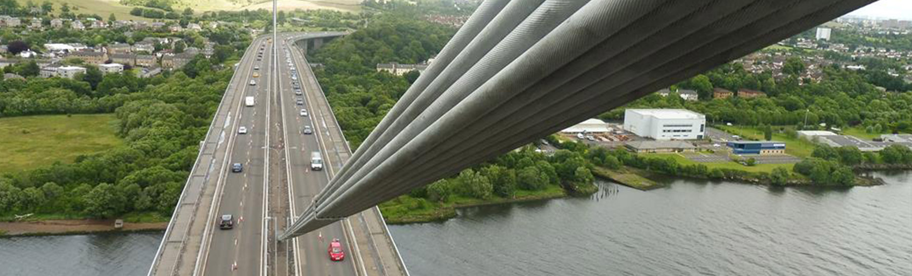 aerial view from top of erskine bridge or road bridge below